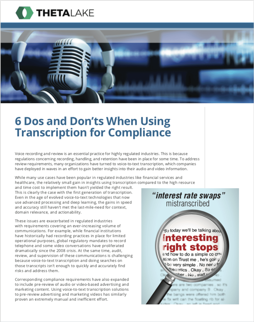 6 Dos and Don'ts when using transcription for compliance Theta Lake solution brief