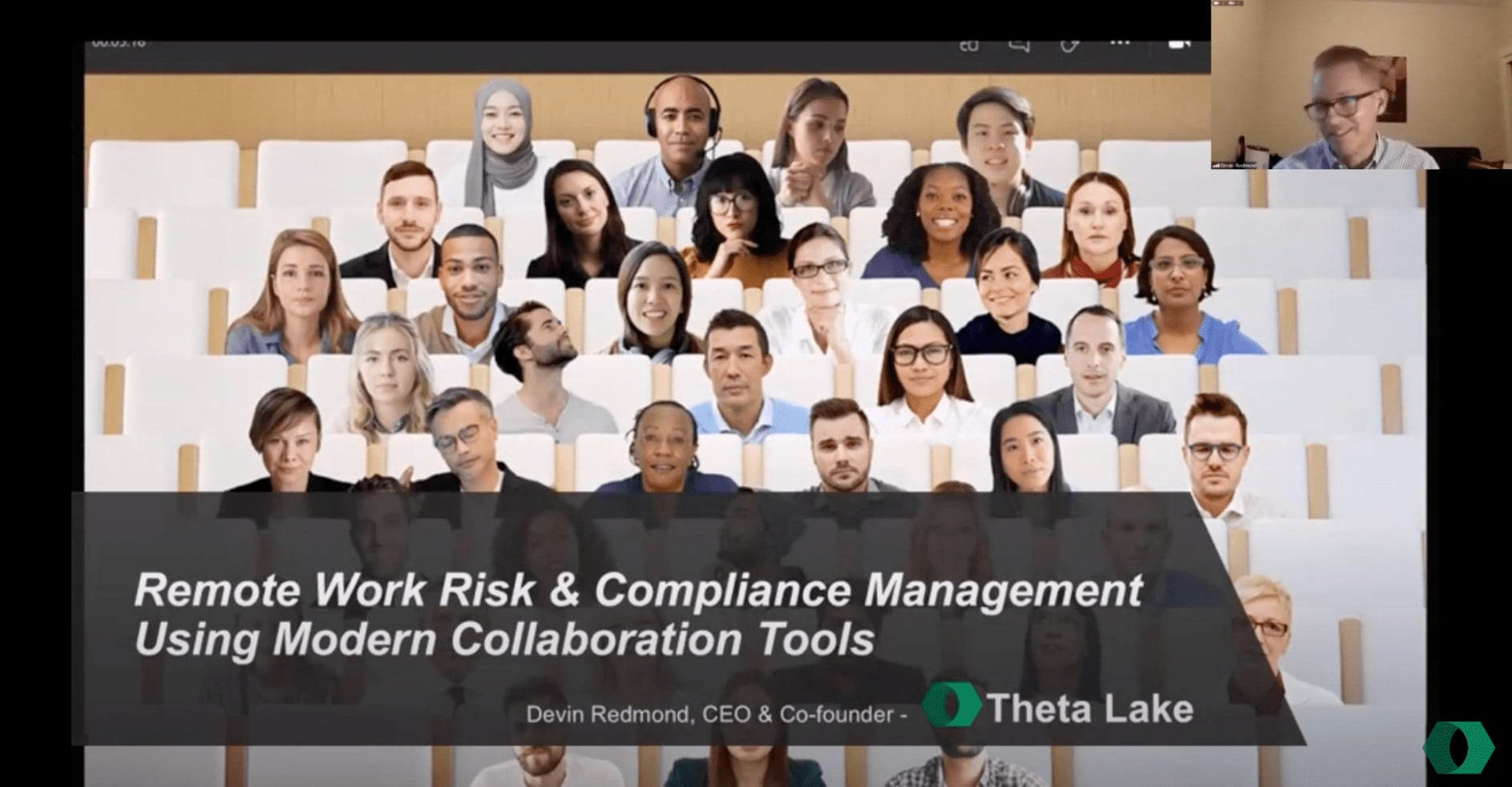 webinar banner: Remote work risk and compliance management using modern collaboration tools.