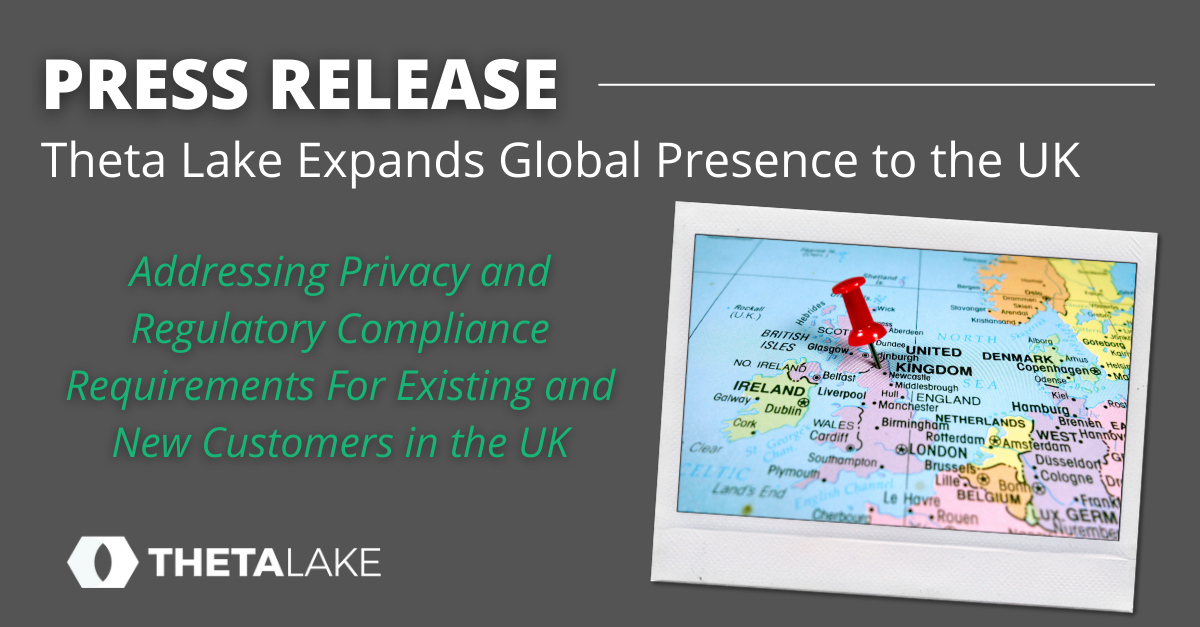 Press release banner: Theta Lake expands global presence to the UK